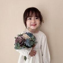 Girlsdresses של תינוקות סופר אוקסידנטל סגנון ילדים ארוך שרוול Girlsprincess שמלות ילדות קטנות בגדים