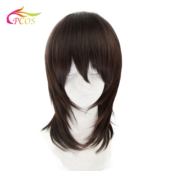 Synthetic Wig Medium Length Straight Dark Brown/Medium Auburn Layered Haircut Natural Handsome Cosplay Wigs For Party
