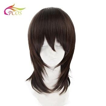 цена на Synthetic Wig Medium Length Straight Dark Brown/Medium Auburn Layered Haircut Natural Handsome Cosplay Wigs For Party