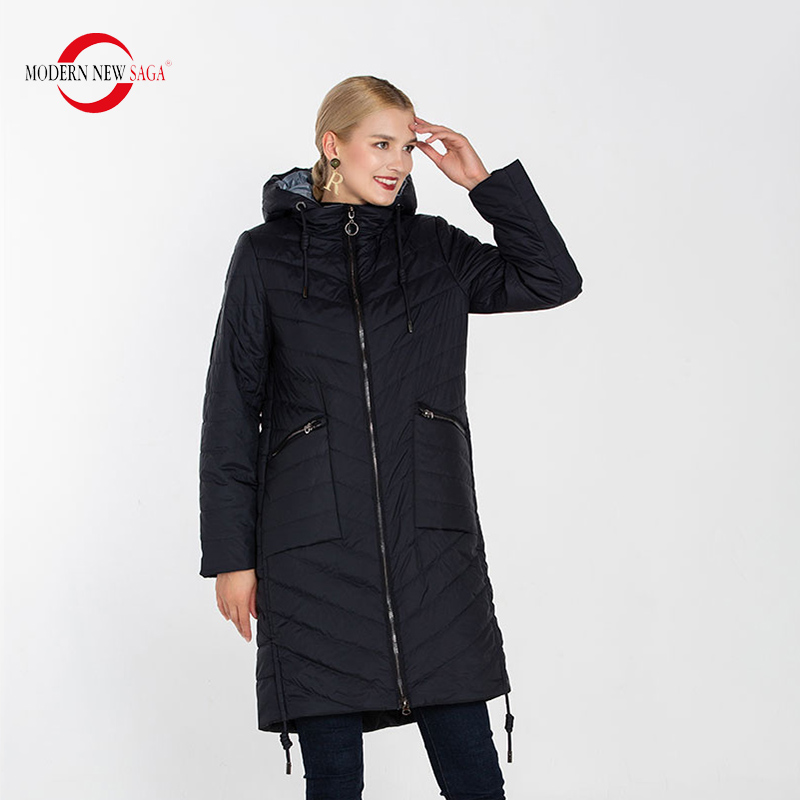 MODERN NEW SAGA High Quality Women Coat Hooded Warm Thin Cotton Padded Coat Autumn Long Jacket Parka Spring Women Quilted Coat