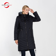 MODERN NEW SAGA High Quality Women Hooded Warm Coat Thin Cotton Padded Casual Jacket Female Parkas Long Overcoat Casaco Feminino