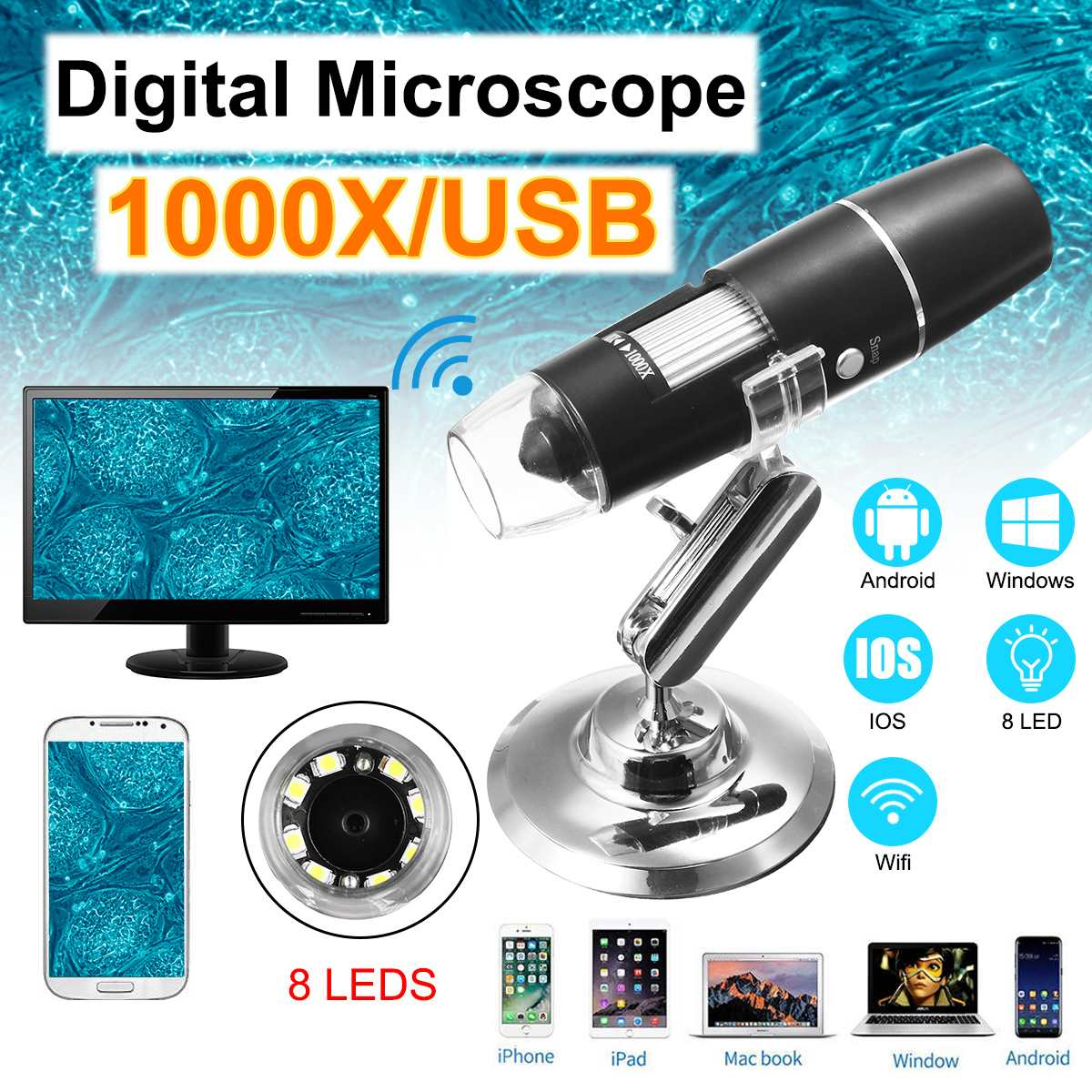 With 8LED HD 1080P WiFi Microscope 1000X Magnifier For Android Ios For IPhones For IPads Windows For MAC Free Ship