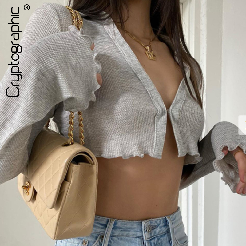Cryptographic Turn-down Collar Grey Cardigan Women Top and Shirts 2020 Autumn Flare Long Sleeve Crop Top Shirts Elegant Blusas