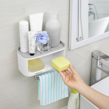 Wall Mounted Bathroom Organizer Made Of ABS And PS Material For perfect for holding soap And Toilet Paper