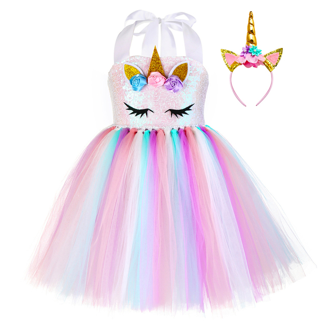 Pastelowe cekiny dziewczęce jednorożec Tutu sukienka zestaw księżniczka kwiaty sukienka dziewczęca na przyjęcie urodzinowe dzieci Halloween kostium jednorożca