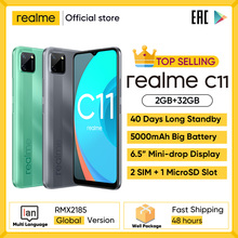 Realme C11 Mobile Phones 6.5inch 5000mAh Big Battery 40days Long Standby 3-Card Slot Android Smartphone 13MP Camera Telephone