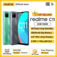 Realme C11 téléphones mobiles 6.5 pouces 5000mAh grande batterie 40 jours de veille 3-carte Slot Android Smartphone 13MP caméra téléphone