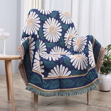 51 X 71 Inches Multi-Function Throw Blanket Double Sided Cotton Woven Couch White Chrysanthemum for Chair  Cover