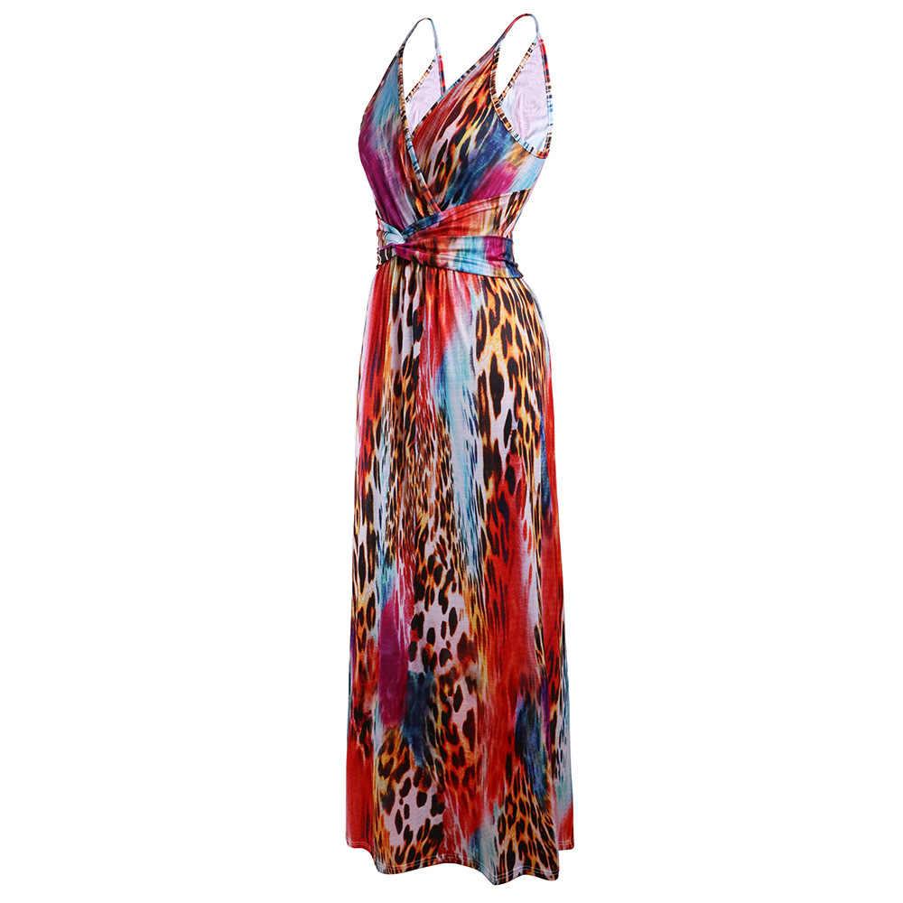 Vrouwen Sling Bloemen Lange Jurken Collectie 2020 Zomer Boho V-hals Mouwloze Avondfeest Strand Maxi Jurk Casual Zonnejurk