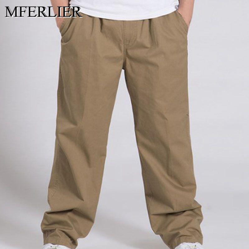 Summer Autumn Pants Men 5XL 6XL Weight 150kg Cotton Plus Size Men Pants 4 Colors