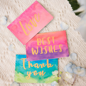 1 pcs Hot gold birthday greeting card watercolor folding Gift card message card with envelope Christmas New Year blessing card
