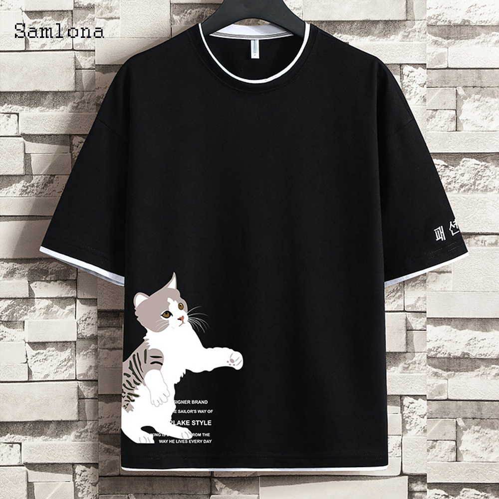 Trend t-Shirt,Cartoon Style Cat Christmas Fashion Personality Customization