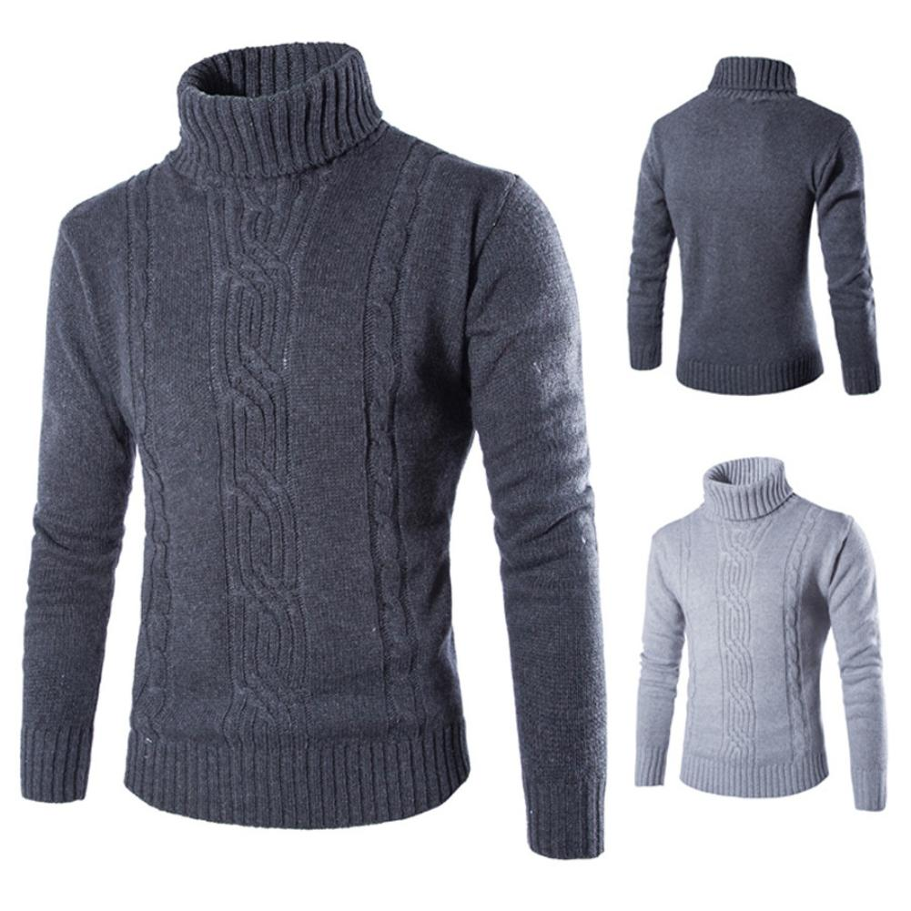 Men Casual Solid Color Turtle Neck Long Sleeve Twist Knitted Bottoming Sweater