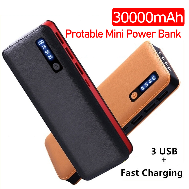 30000 MAh Portable Power Bank 3 USB LED Battery Powerbank Fast Charging External Battery For Xiaomi Iphone All Smart Phone