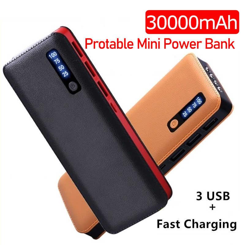 Batería externa portátil de 30000 MAh con 3 USB LED, batería externa de carga rápida para Xiaomi iphone, todos los teléfonos inteligentes
