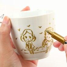 Ouro/prata cor metálica marcador caneta à prova dwaterproof água tinta permanente artesanato arte desenho escola fornecimento diy linha escova de papel