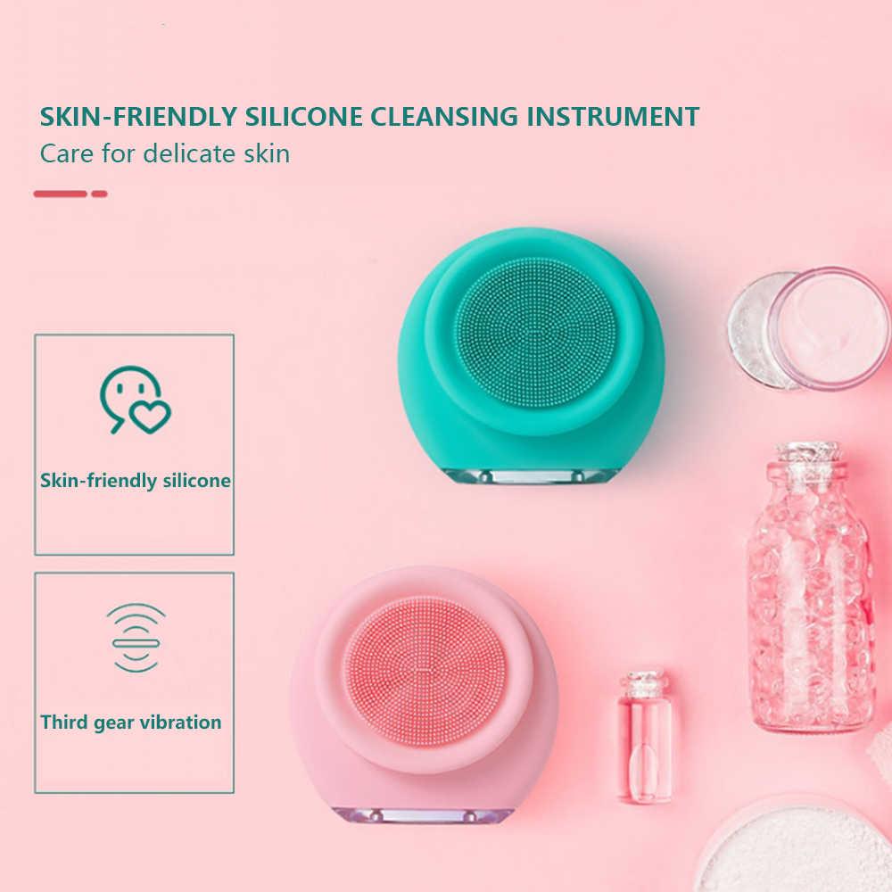 Limpiador Facial eléctrico herramientas de masaje de silicona para el cuidado de la cara cepillo de SPA máquina reafirmante DE LA PIEL dispositivos de limpieza Facial con alimentación USB
