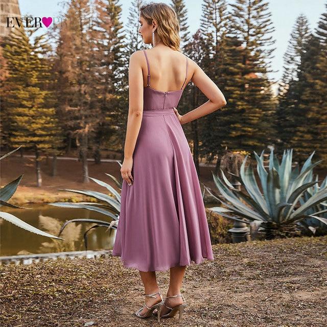 Orchid Purple Bridesmaid Dresses Short Ever Pretty Elegant A Line Spaghetti Straps Chiffon Wedding Party Dress With Belt ES03127 3