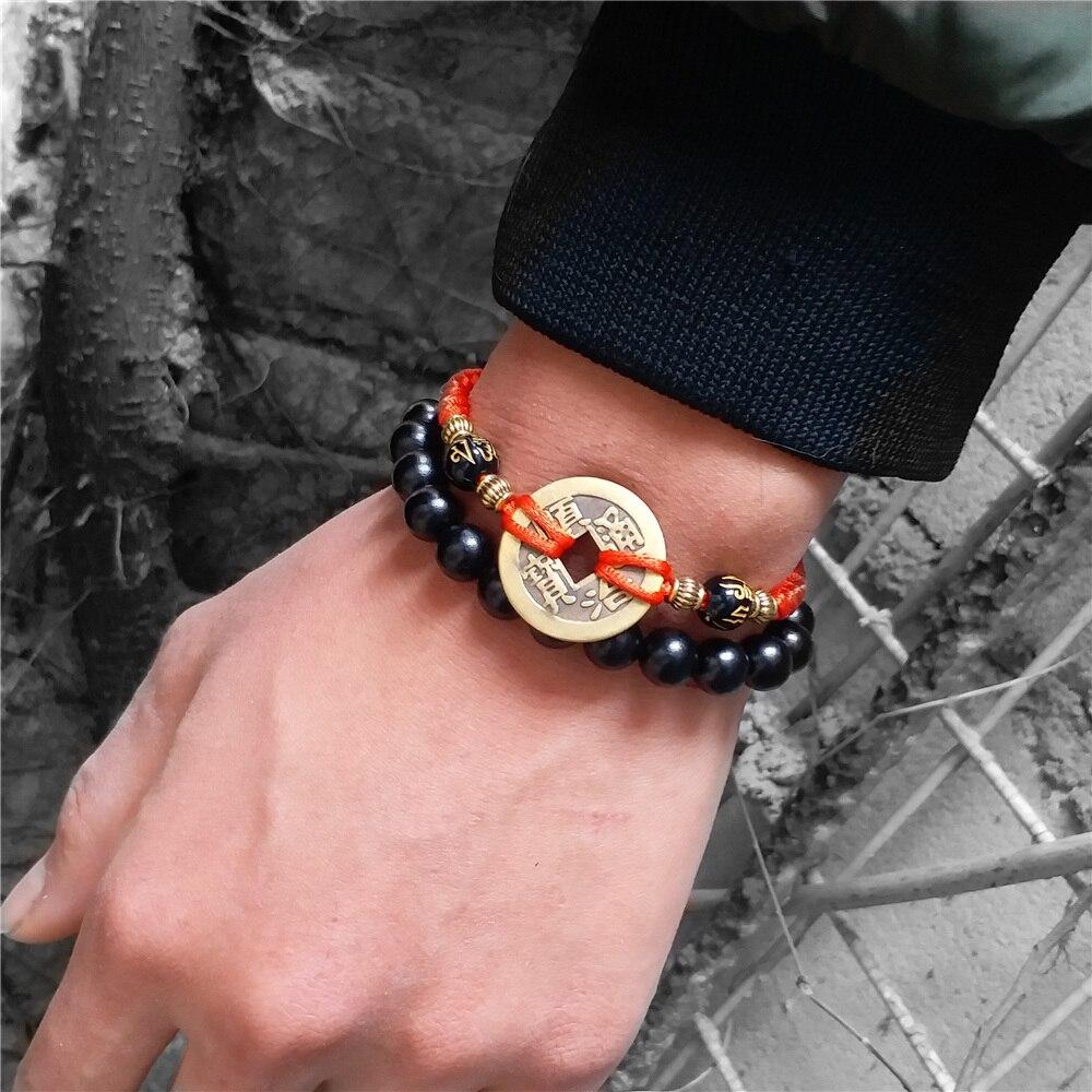 Feng shui ebony contas de madeira pulseira masculina mulher tecido corda sorte buda preto moeda de cobre amuleto riqueza vermelho pulseiras