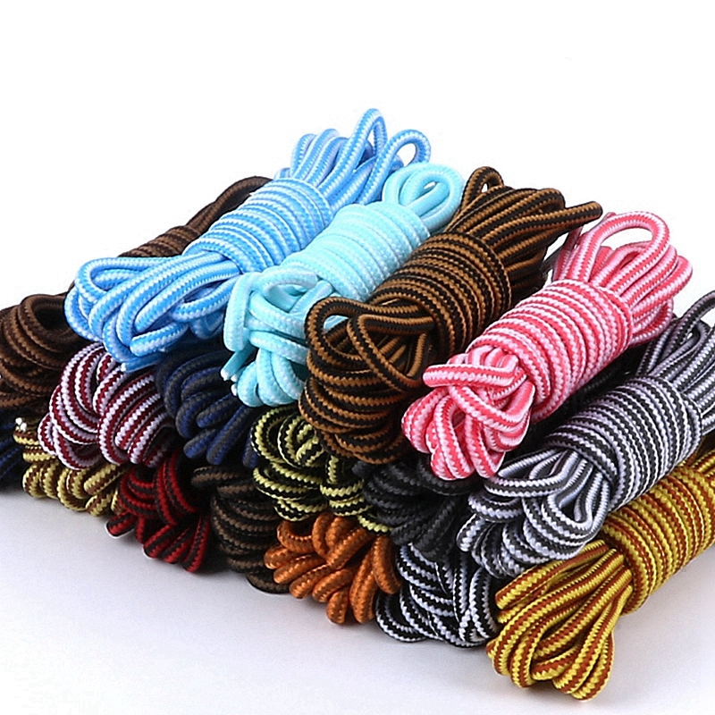 1 Pair Martin Shoes Round Shoelaces Hiking And Leisure Sports Shoe Laces Striped Double Color Fashion Shoe Lace 18 Colors