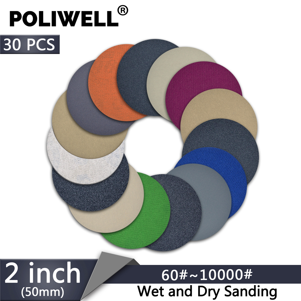 POLIWELL 30PCS 2 Inch 400 /3000/ 4000/ 10000 Grit Sanding Discs Hook&Loop Wet Dry Round Sandpaper For Wood Car Abrasive Tools