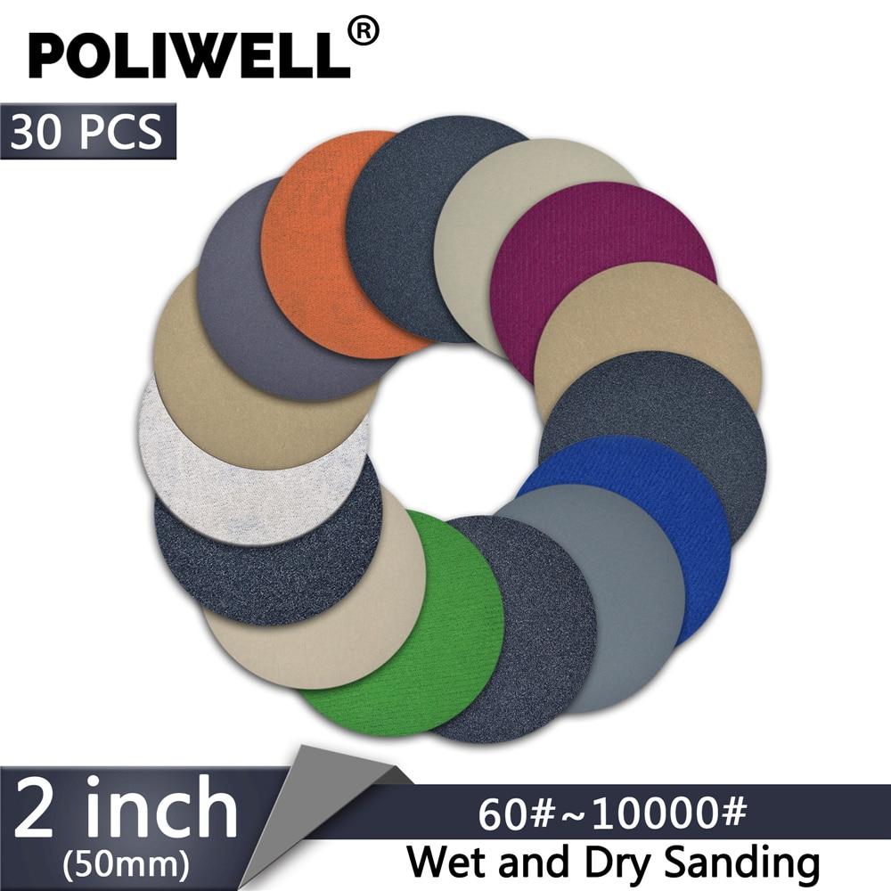 POLIWELL 30PCS 2 Inch 400 /3000/ 4000/ 10000 Grit Sanding Discs Hook&Loop Wet Dry Round Sandpaper For Wood Car Abrasive Tools