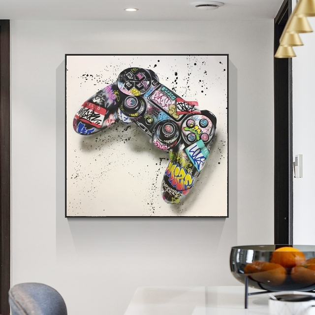 Graffiti Art Gamepad Canvas Art Posters and Print Abstract Game Handle Canvas Paintings on The Wall for Kid's Room Decor Picture 5