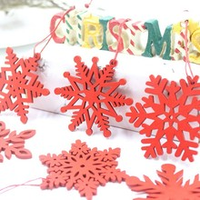 6PCS Wooden Snowflake Adornment Decoration Hanging Christmas Festive Party SuppliesCM