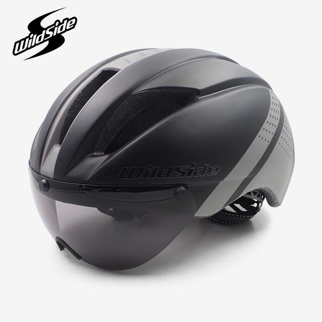 Aero capacete tt tempo julgamento ciclismo capacete para homens mulheres óculos de corrida de estrada da bicicleta capacete com lente casco ciclismo equipamentos 2
