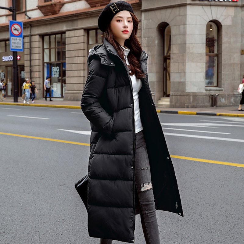 2019 Fashion Womens Winter Jackets Hooded Stand Collar Cotton Padded Female Coat Plus Size Warm Thicken Winter Women Long   Parka