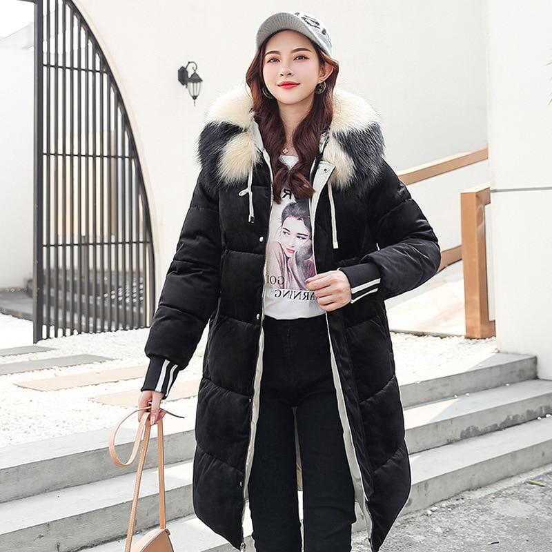 2019 nueva Parkas de invierno para mujer, Chaqueta de algodón de terciopelo dorado, abrigo de invierno con capucha y Cuello de piel para mujer, talla grande g586 - 2
