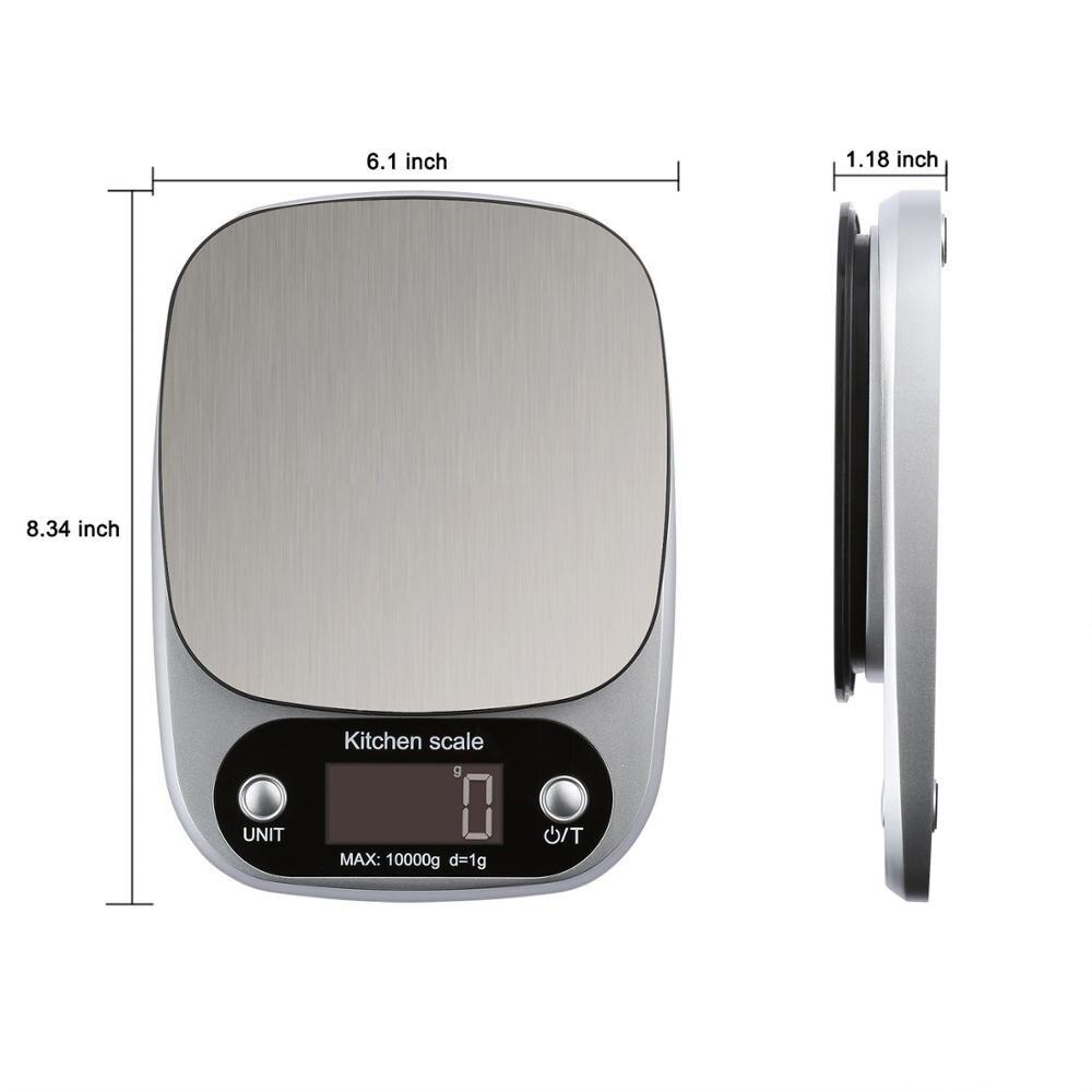 10 кг Цифровой Кухня Еда весы ЖК-дисплей Дисплей Многофункциональный Вес электронные весы для выпечки и Пособия по кулинарии торт весы серебряный черный цвет-5