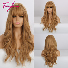 Synthetic Wigs Bangs Middle-Parts Wavy Heat-Resistant Gradient-Color Dark-Brown Natural