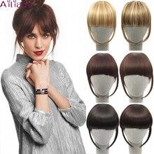 AILIADE синтетические женские волосы на двух клипсах, накладные волосы с бахромой, черные с блондином, накладные волосы на клипсах спереди