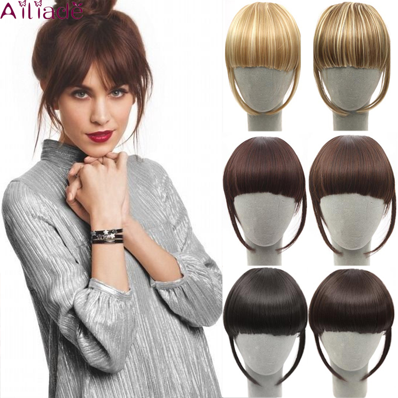 AILIADE Synthetic Women Two Clip Bangs Hair Extension Fringe Hairpieces Black With Blond Hair Piece Clip On Front Fake Fringe