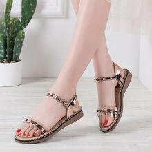 Роскошные летние женские босоножки Обувь с заклепками вьетнамки
