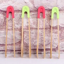 Natural Bamboo Food Clip Bread Grill Buffet Silicone Baking Tools