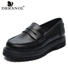 Women Shoes Loafers DRKANOL Genuine-Leather Slip-On Retro Flat Casual for Handmade Platform