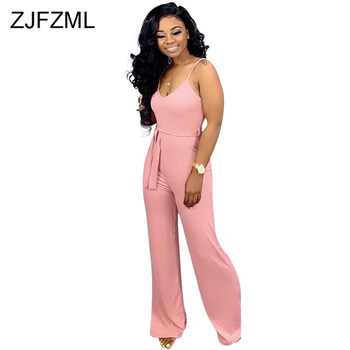 Solid Plus Size Summer Jumpsuit Women Spaghetti Strap Backless Elegant One Piece Overall Causal V Neck Belted Slim Bodysuits red spaghetti v neck sleeveless bodysuits