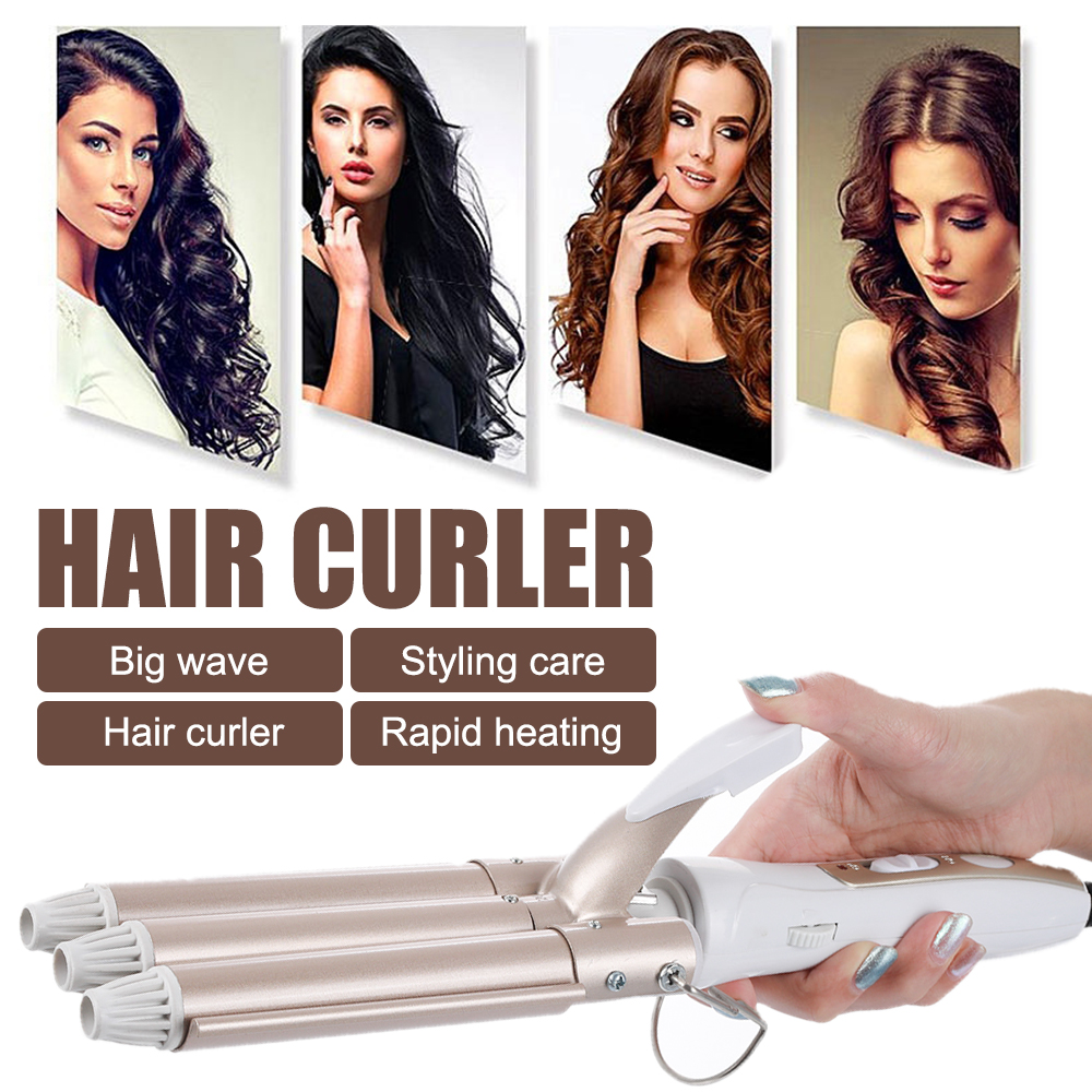 Professional Hair Curling Iron Ceramic Triple Barrel Hair Styler Hair Waver Styling Tool Hair Curler Salon Electric Curling Wand