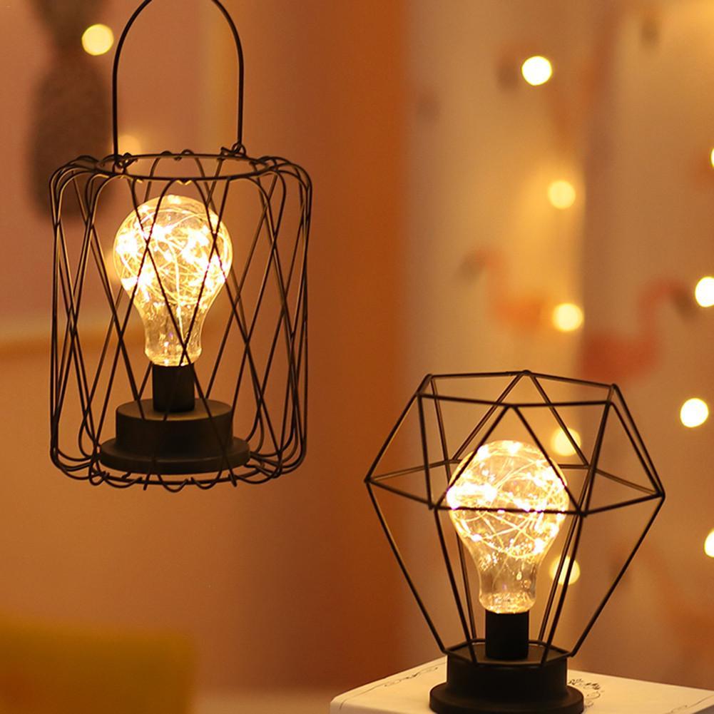 مصابيح طاولة الرجعية لغرفة النوم غرفة المعيشة أباجورة LED الفن سرير حديث مصباح ضوء الليل عيد الميلاد الديكور أباجورة