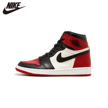 Original Authentic Nike Air Jordan 1 Retro High-top Men's Basketball Shoes OG Fashion Red White Breathable 2019 New(China)