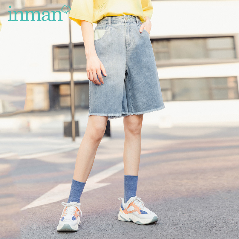 INMAN 2020 Summer New Arrival Literary Personality Fashion Contrast Color Embroidered Shorts