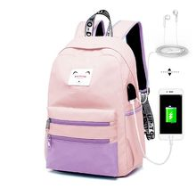 Women Girls Patchwork Backpack with USB Charging Port School Bags Casual Travel Laptop Daypacks Rucksack Bookbags