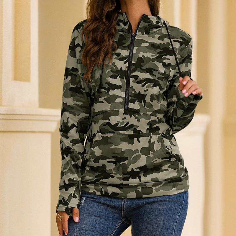 US $17.75 17% OFF Women Hoodies Sweatshirt Army Green Camo Print Rock Camouflage Long Sleeve Zipper Pullovers hoodie Women Autumn Sweatshirts Hoodies