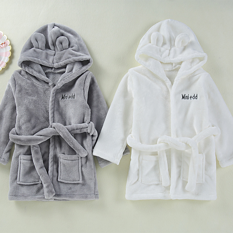 INS Hot Selling Flannel Bathrobe Children Clothing Home Clothes Cute CHILDREN'S Nightgown Baby Bathrobe