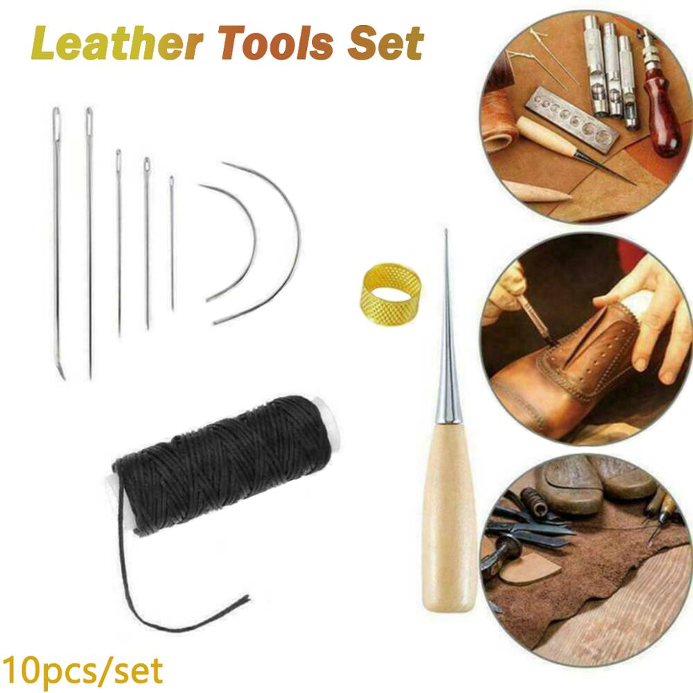 10pcs Leather Craft Tool Waxed Thread Cord Sewing Needles Shoe Repair Kit Set