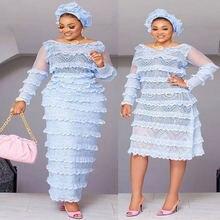 Синяя французская кружевная ткань нигерийская 5 ярдов африканская