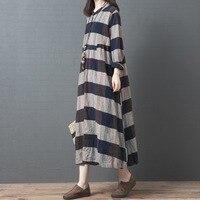 New Fashion Loose Retro Cotton Linen Stripe O neck Button Long Sleeve Dress 2019 Autumn Simple Comfortable Women Dress