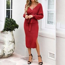 Women Knitted Sweater Dress Korean Wrap Belted Tunic Midi Vestidos Long Sleeve Double V Neck Split Casual Autumn Dresses 2019